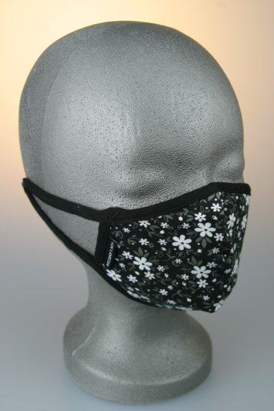 Kindermaske, 7-12 J., schwarz mit weißen Blumen