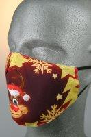 Maske mit Weihnachtsmotiv, Rentier Rudolf, rot