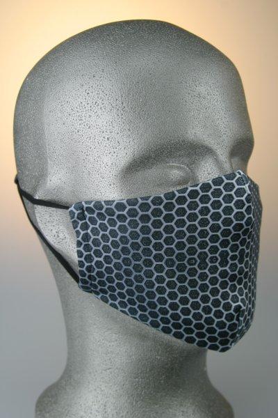 Mund- und Nasenmaske, Wabenmuster, grau-weiß
