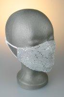 Mund- und Nasenmaske, silber mit Pailetten