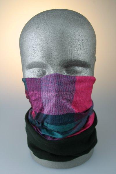 Multifunktionstuch mit Thermofleece, Karomuster grün-pink