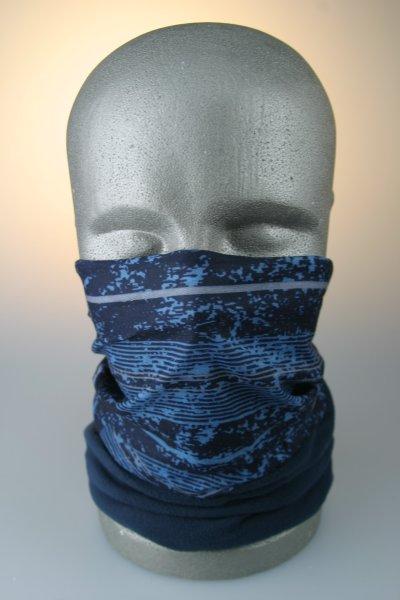 Multifunktionstuch mit Thermofleece, breite Streifen blau
