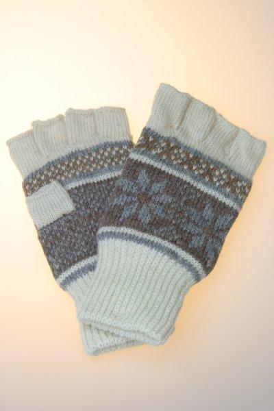 Damenhandschuh 1/2 Finger Norwegermuster, Thinsulate, wollweiß