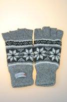 Damenhandschuh 1/2 Finger Norwegermuster, Thinsulate, grau