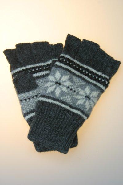 Damenhandschuh 1/2 Finger Norwegermuster, Thinsulate, anthrazit