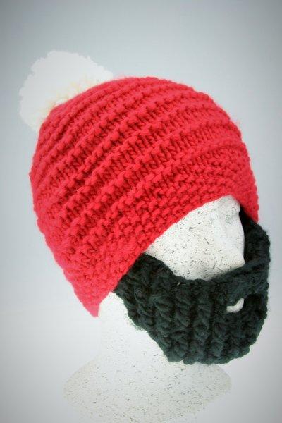 rote Mütze-schwarzer und weißer Bart